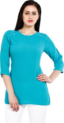 Mustard Casual 3/4 Sleeve Solid Women,s Light Blue Top