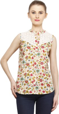 Peptrends Casual Sleeveless Printed Women's Pink Top