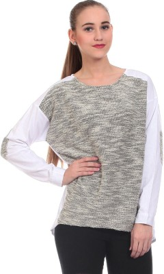 Claude 9 Casual Full Sleeve Solid Women's Grey Top