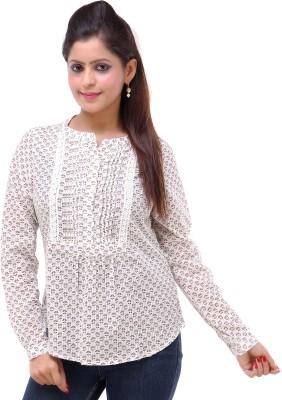 Kashana Fashions Casual Full Sleeve Floral Print Women's White Top