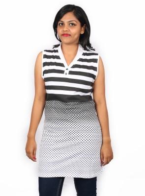 Pragati Fashions Casual Sleeveless Striped Women's Black, White Top