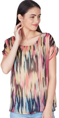 American Swan Casual Short Sleeve Printed Women's Black Top