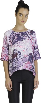 Vivante by VSA Casual 3/4 Sleeve Printed Women's Purple Top