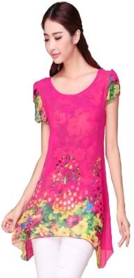 Hari Krishna sarees Casual, Formal Short Sleeve Floral Print Women's Pink Top