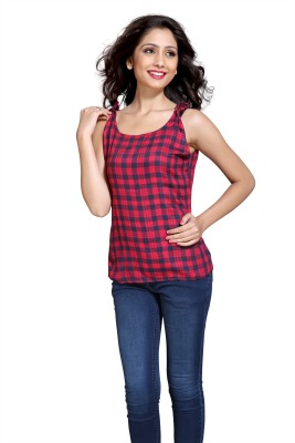 Eighteen4ever Casual Sleeveless Checkered Women's Red Top