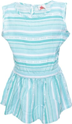 UFO Casual Sleeveless Striped Girl's Green Top