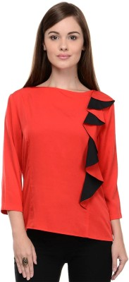 I Know Casual 3/4 Sleeve Solid Women,s Red Top