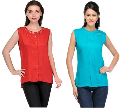 Abhinav Fashion Casual Sleeveless Solid Women's Red, Green Top