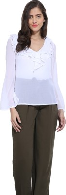 Ama Bella Casual Full Sleeve Solid Women's White Top