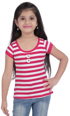 Triki Casual Short Sleeve Striped Girl's Pink Top