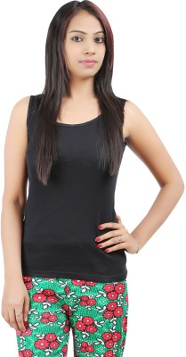 Softwear Casual Sleeveless Solid Women's Black Top