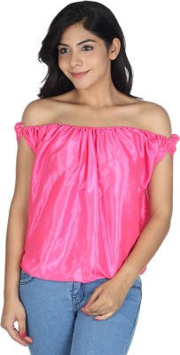 Augadh Casual Sleeveless Solid Women's Pink Top