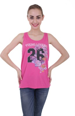 Skatti Casual Sleeveless Floral Print Women's Pink Top