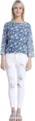 Vero Moda Casual Full Sleeve Floral Print Women's Blue Top