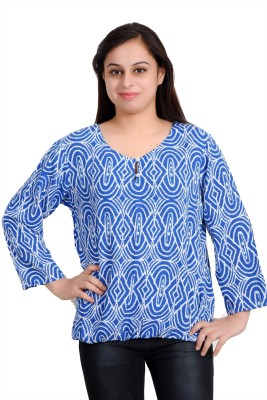 Parv Collections Casual 3/4 Sleeve Printed Women's Blue Top