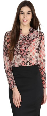 La Zoire Formal, Casual, Party Full Sleeve Animal Print Women's Pink, Multicolor Top