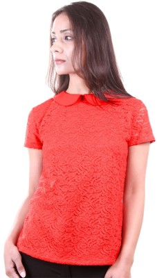 AR2 Party Short Sleeve Embroidered Women's Red Top
