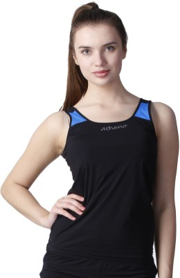 Atheno Casual Sleeveless Solid Women's Black Top