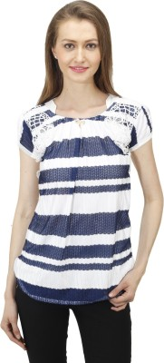 Time Expert Casual Sleeveless Printed Women's White, Blue Top