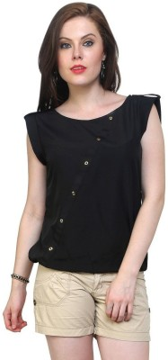 Indicot Casual Sleeveless Solid Women's Black Top