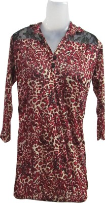 Revinfashions Festive 3/4 Sleeve Graphic Print Women's Pink Top