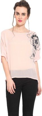 Rena Love Casual 3/4 Sleeve Solid Women's Pink Top