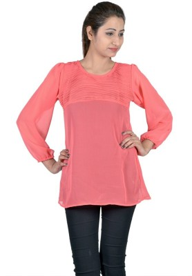 Indicot Casual, Party Full Sleeve Solid Women's Orange Top