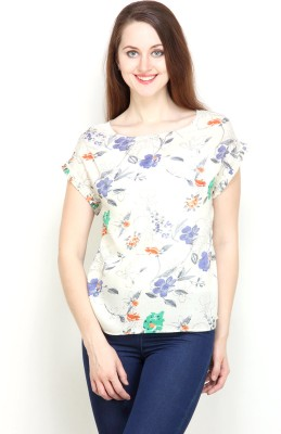 Tops and Tunics Casual Short Sleeve Printed Women's White Top