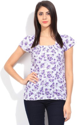 Style Quotient Casual Short Sleeve Printed Women's White, Purple Top