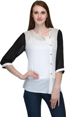 Natty India Casual 3/4 Sleeve Solid Women's White, Black Top