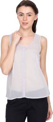 Golden Couture Casual Sleeveless Solid Women's Purple Top