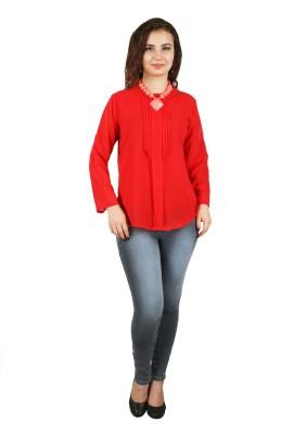 FASHIONHOLIC Casual Full Sleeve Self Design Women's Red Top