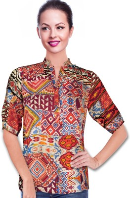 BeforeAfter Festive 3/4 Sleeve Floral Print Women's Multicolor Top