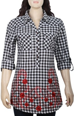 Mustard Casual Roll-up Sleeve Checkered Women's Black, White Top