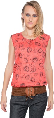 Membooz Casual, Party Short Sleeve Self Design Women's Orange Top