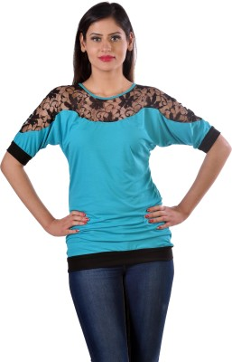 Hugo Chavez Formal, Party, Casual, Festive Short Sleeve Solid Women's Blue Top