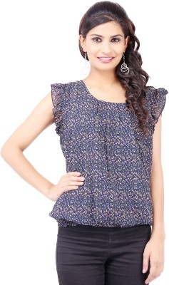Pear Blossom Casual Sleeveless Printed Women's Blue Top