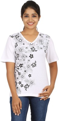 FICTIF Casual Short Sleeve Floral Print Women's White Top