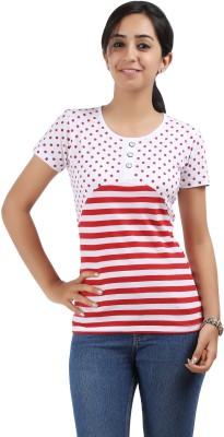 Maringo Classic Casual Short Sleeve Striped Women's Red, White Top