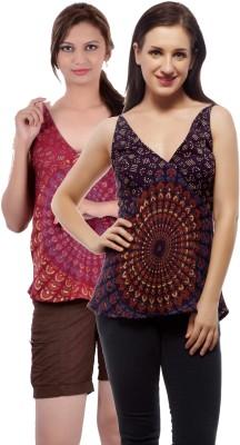 Indi Bargain Casual, Party, Formal, Beach Wear Sleeveless Printed, Floral Print Women's Purple, Maroon Top