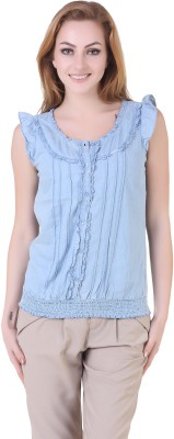 Yishion Casual Sleeveless Solid Women's Blue Top