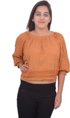 #Lets Selfie Casual 3/4 Sleeve Embroidered Women's Brown Top