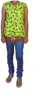 Jhumri Casual Short Sleeve Floral Print Girl's Green Top