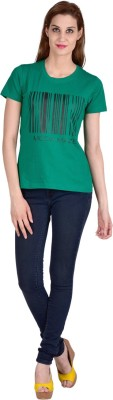 moda maze Casual Cap sleeve Self Design Women's Dark Green Top