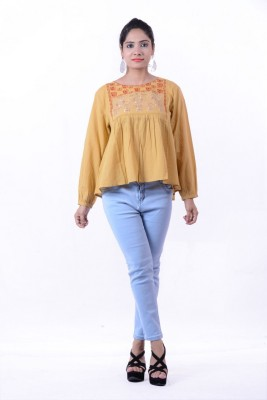 Megha Overseas Casual 3/4 Sleeve Printed Women's Yellow Top