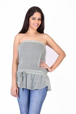 Trim N Trendy Casual Sleeveless Printed Women's Grey Top