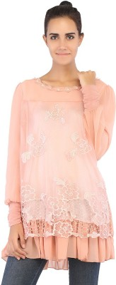 Ffashionstylus Party Full Sleeve Embroidered Women's Pink Top
