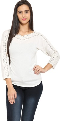 Why Knot Casual 3/4 Sleeve Solid Women's Beige Top