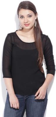Van Heusen Casual 3/4th Sleeve Solid Womens Black Top