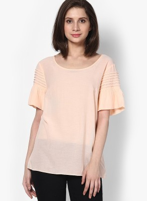 Vero Moda Casual Short Sleeve Solid Women's Beige Top at flipkart